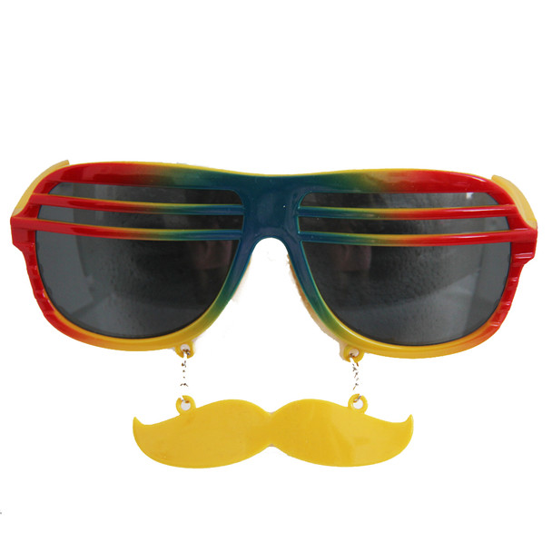 Rainbow Shutter Shades Mustache Sunglasses Adult 12 PACK 7119D