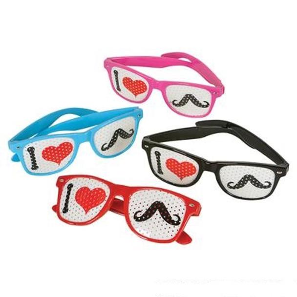 "12 PK ""I Love Mustaches"" Glasses Assorted Colors 7001D-7004D"