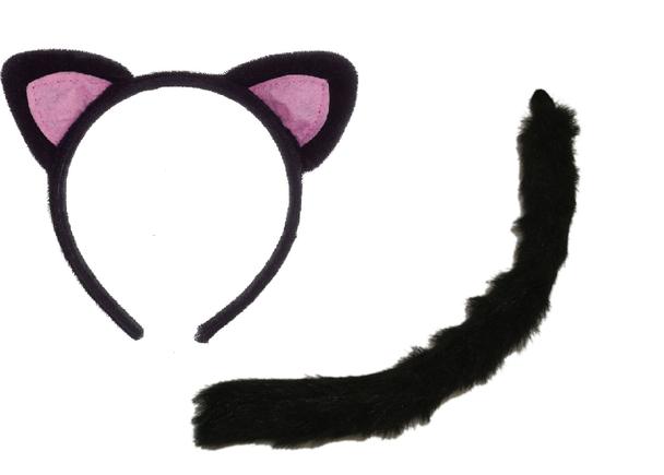 Black Cat Ear Headband and Tail Set 16770/1678