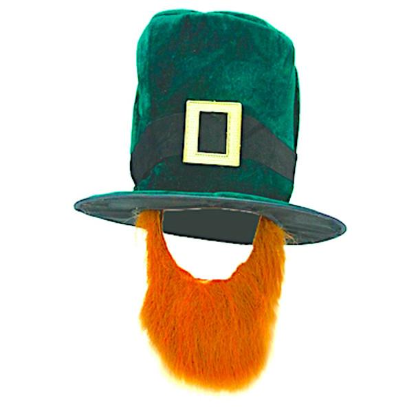 St Patricks Top Hats Bulk   Leprechaun with Attached Beard 12 PACK 5852DZ