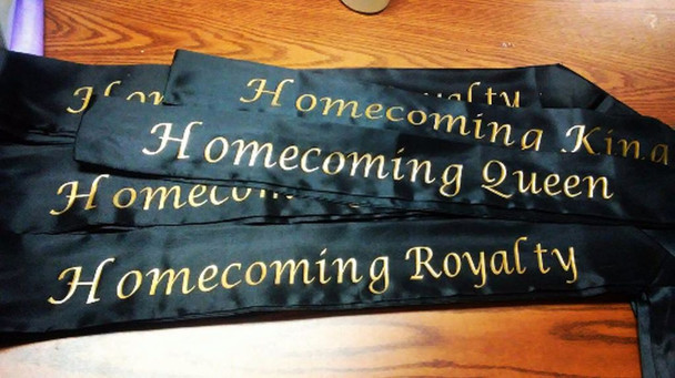 "Homecoming Sash, Homecoming Court Sashes, For Homecoming Events  Satin Quality  60"" (Fonts in Picture Gallery)"