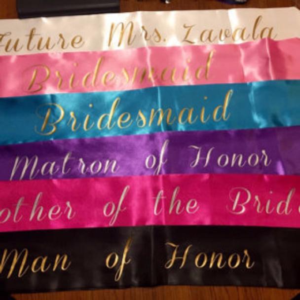 "Customized Sashes   Bridal Shower Sash   Personalized For Bday Satin Quality  60"""
