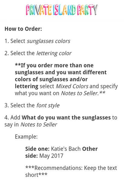 Personalized Sunglasses Bulk |  Bachelorette Sunglasses |  15042 (Fonts in Picture Gallery)