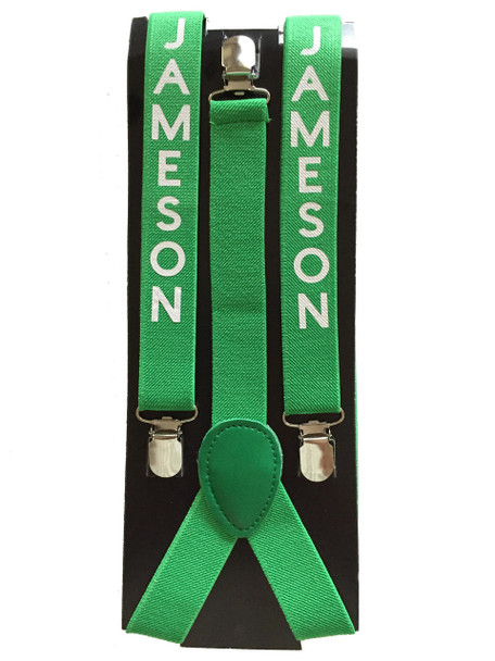 Elastic Suspenders Customized   In Many Colors Adult & Kids Sizes   (Fonts in Picture Gallery)