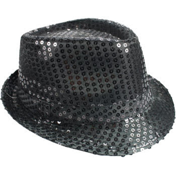 Black Sequin Fedora | Black Party Hats | 18002 Adult Size 12 PACK