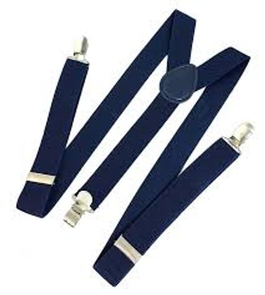 Navy Blue Suspenders |  Elastic Clip On 1200AN
