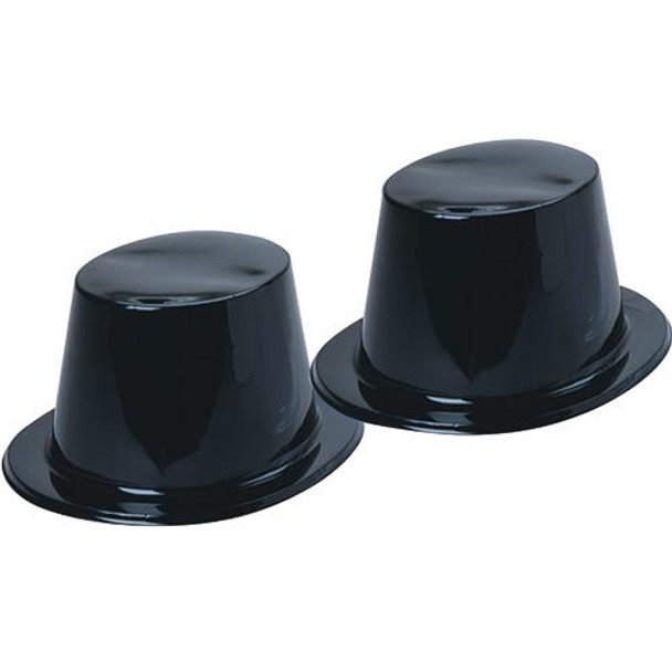 Black Plastic Top Hat  | Wholesale 48 PACK Adult 13550