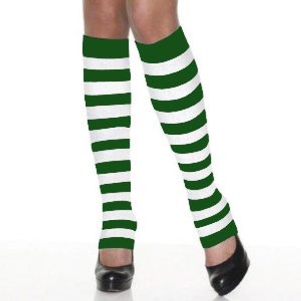 Kids St. Patrick's Legwarmers Wholesale   12 PACK PAIR Green/White Striped 5203D