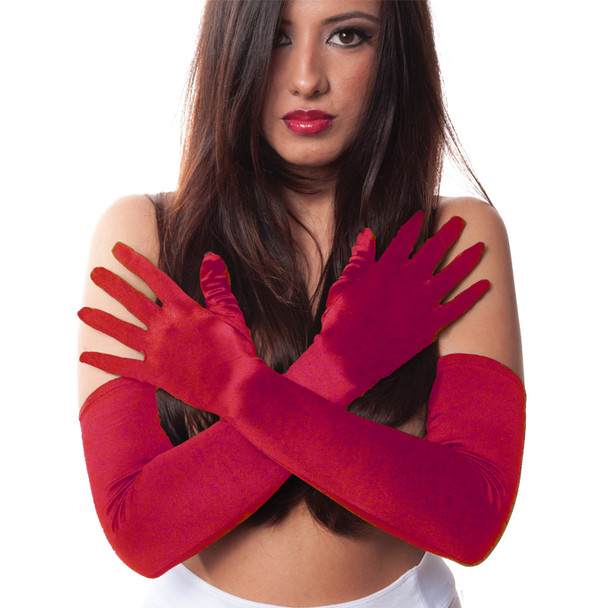 Bulk Red Gloves | 12 PACK | Opera Gloves Satin 1212DZ