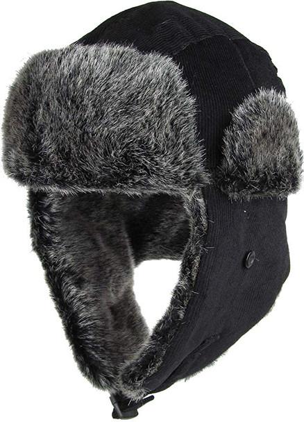 Navy Blue Trapper Hat | Grey Faux Fur 12 PACK 5831NB
