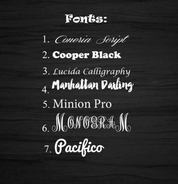 Font List for Customization