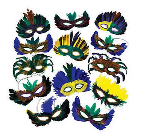 Mardi Gras Feather Assortment Masks  12 PACK