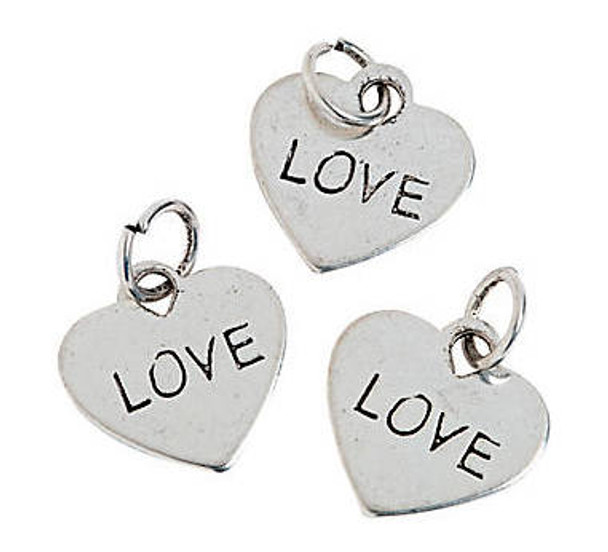 Heart-Shaped Love Charms  | Metal 1/2 inch 36 PACK 20007