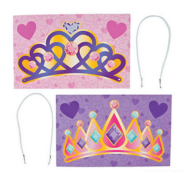 Valentines Day Exchange Cards | TIARA CROWNS | 24 PACK 20013