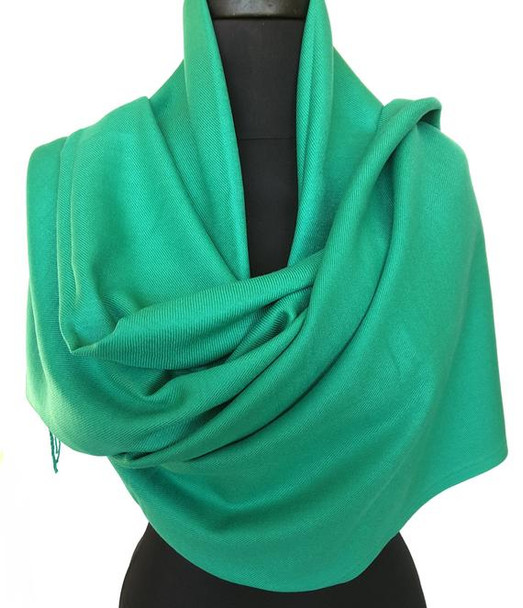 Kelly Green Pashmina Shawl 100% Fine Wool Mix 12 PACK 2118K