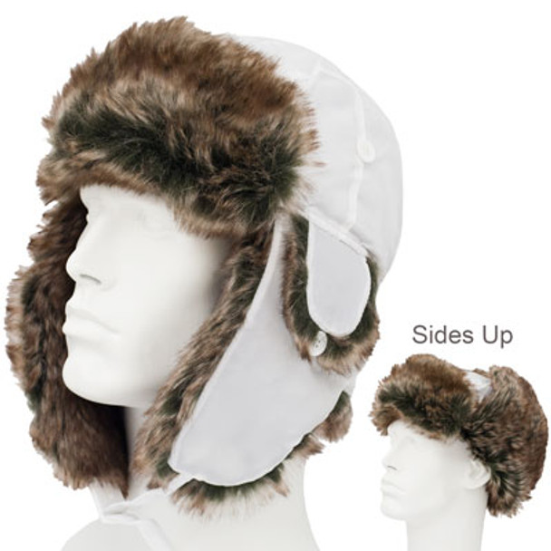 12 PACK  White Trapper Hat | Brown Faux Fur 5831BW