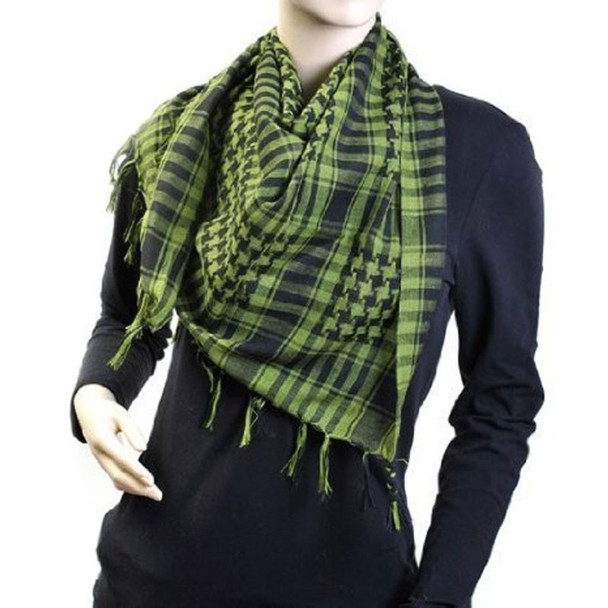 12 PACK Black And Green Arab Shemagh Houndstooth Scarf 2072D