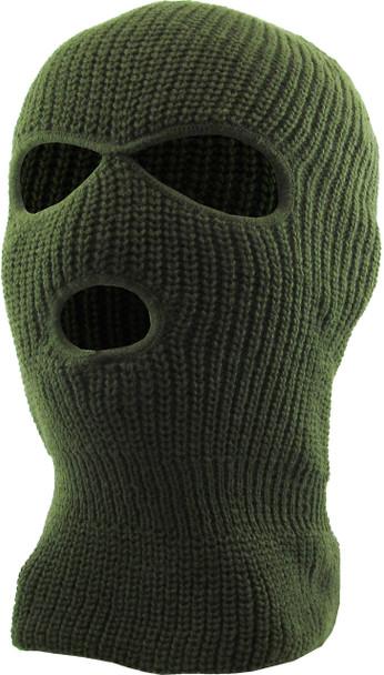 Three Hole Knit Ski Mask  - OLIVE GREEN 3061OD