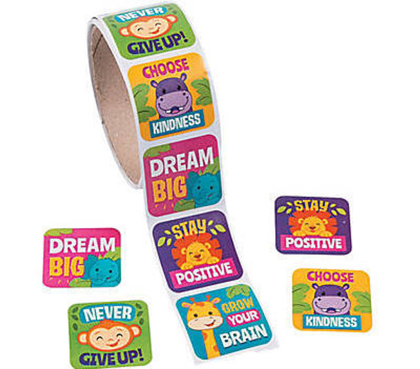 Jungle Party Motivational Stickers Roll 100 PC 38435