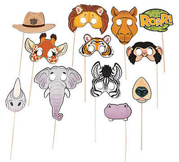 Zoo Animal Photo Stick Props 12 PACK 38437