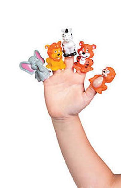 Vinyl Jungle Zoo Animal Finger Puppets 24 PACK 38438