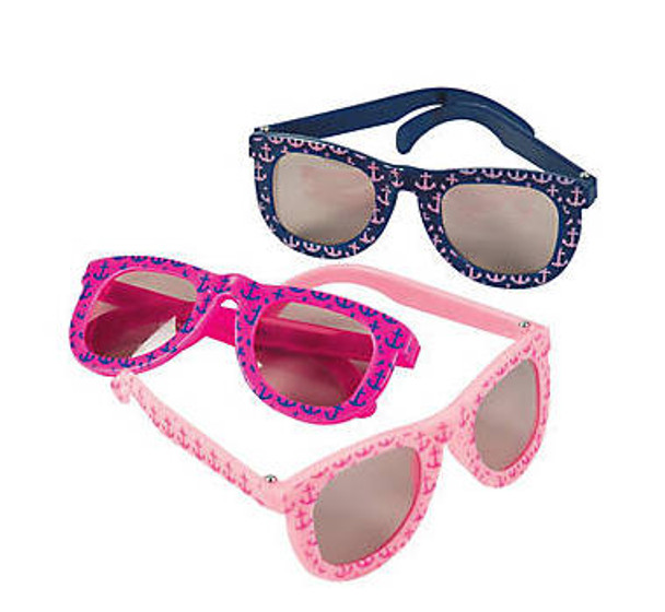 Girls Nautical Anchor Sunglasses Mix 12 PACK Party Favor Quality Ages 3-9 | 390