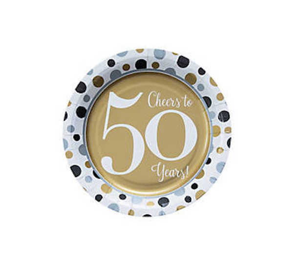 50's Birthday Dessert Plates for 50th Celebration 8 PACK 38197