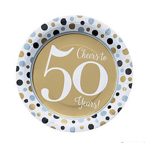 50's Birthday Dinner Plates for 50th Celebration 8 PACK 38198