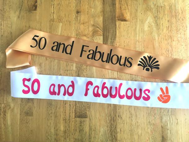 50th Birthday Sashes | Sashes for 50th Birthday Party | 13203