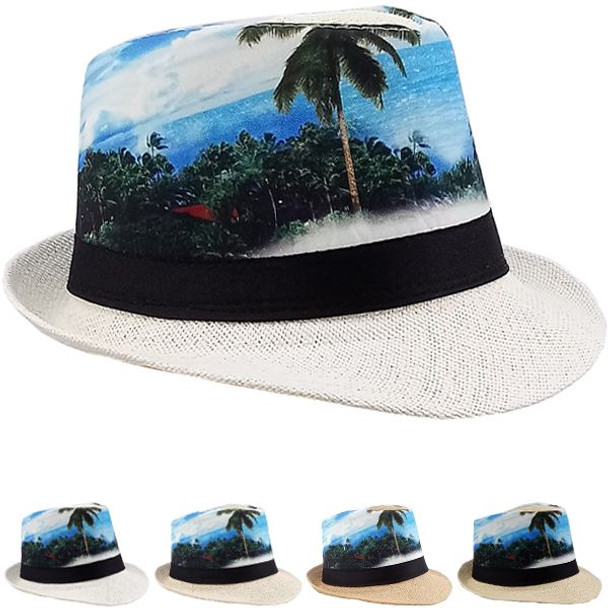 12 PACK Palm Tree/Ocean Print Fedoras 1310PO Adult Size