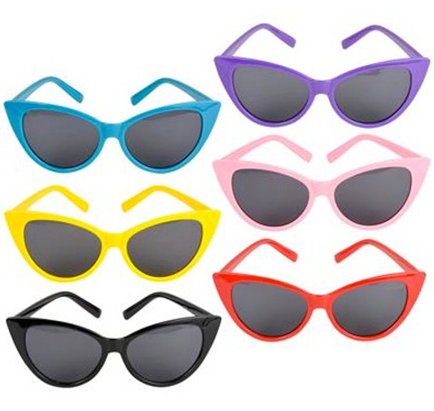 Cat Eye Glasses Polycarbonate Neon Color Mixed 12 PACK 70810