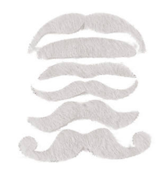 White Mustaches   Stick on Mustaches    12 PACK 1693WH