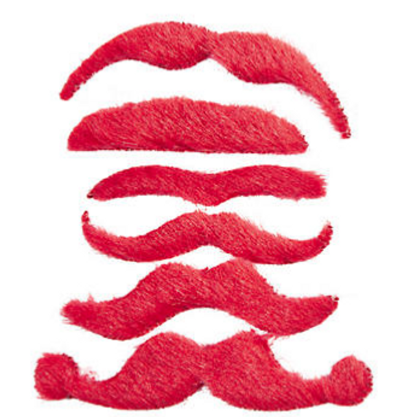 Red Mustaches   Stick on Mustaches    12 PACK 1693RE