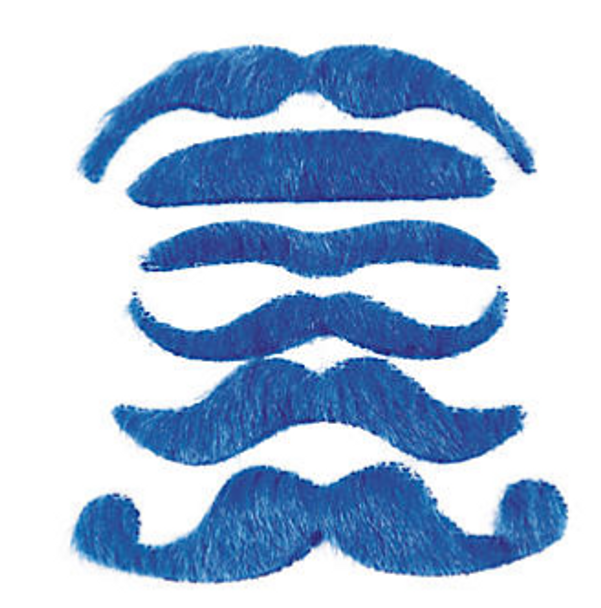 Blue Mustaches | Stick on Mustaches |  12 PACK 1693BL