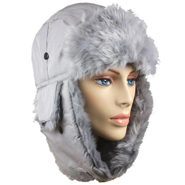 12 PACK Grey Trapper Hat | Grey Faux Fur 5831G