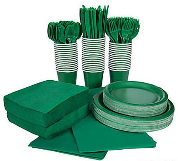 Kelly Green Irish Tableware Party COMPLETE Pack for 48   386815