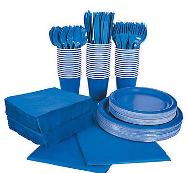 Royal Blue Tableware Party COMPLETE Pack for 48   386821