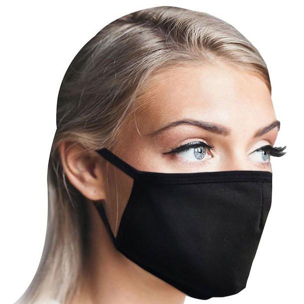 Cotton Face Masks | Adult or Child Size Black Black Double Ply Soft Cotton 12 PACK 70001FMB