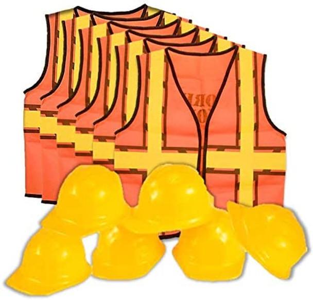 Kids Dress Up Construction Set - Construction Worker Vest with Construction Worker Soft Plastic Construction Helmets Hat 8607B