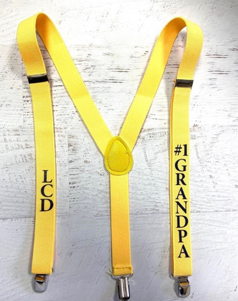 Father's Day Suspenders, Personalized in Many Colors for Photos and Events 15090 | (Fonts in Picture Gallery)