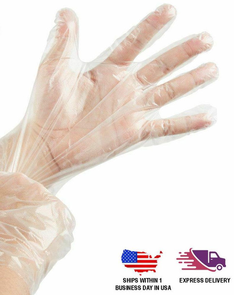 Pack of 500 | Clear Plastic Disposable Gloves | Powder Free Multipurpose Plastic Gloves, Food Service Gloves