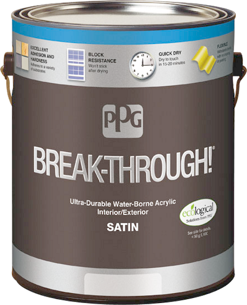 PPG BREAK-THROUGH! Interior/Exterior Satin Water-Borne Acrylic Gallon