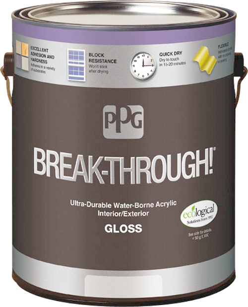 PPG BREAK-THROUGH! Interior/Exterior Gloss Water-Borne Acrylic Gallon