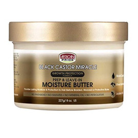 African Pride Black Castor Miracle Moisture Prep Leave In Butter 8oz