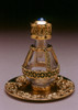 Gold Banded Roma Tear Bottle - pictured with Optional Gold Tray with Solid Rim - Sold Separately.