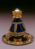 "Gold Banded Blue Roma Tear Bottle pictured with Optional 2"" Gold Tray with Solid Rim - Sold Separately"