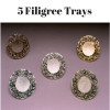 5 Filigree Tear Bottle Trays