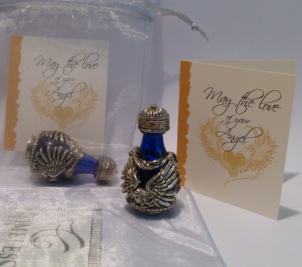 Silver Angel with Blue Glass - with Angel Card - included with this Item