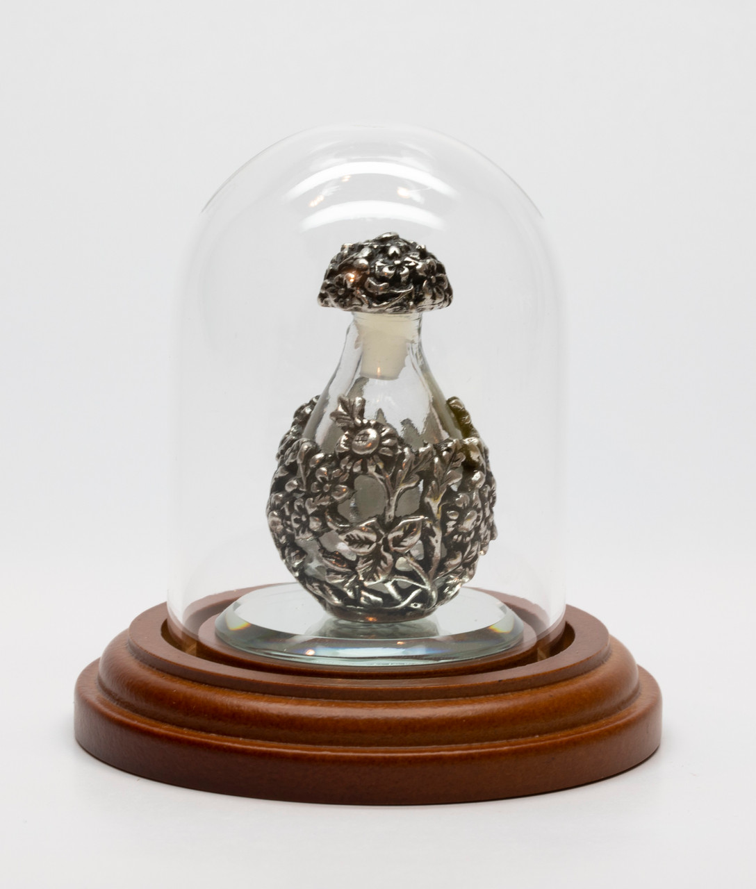 "Copper with Clear Glass Victorian Tear Bottle - shown with Optional Short Mini Dome on an Optional 1 1/2"" Mirror - Both Sold Separately"
