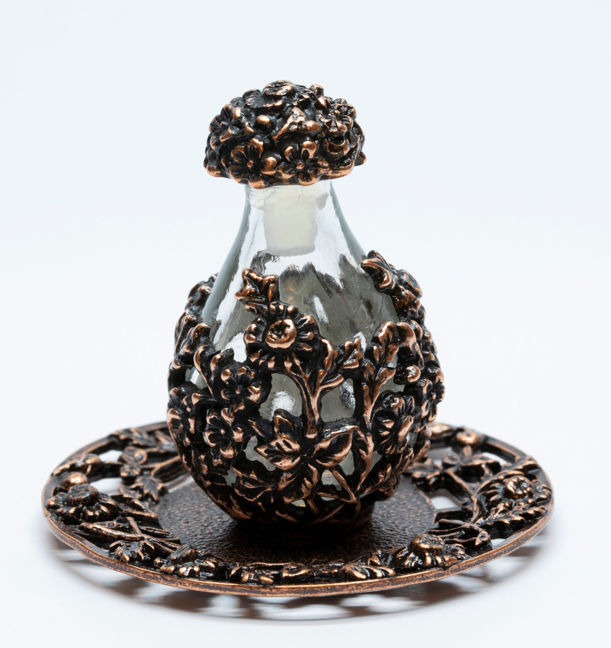 Copper with Clear Glass Victorian Tear Bottle - Shown with Optional Copper Tray  - Sold Separately